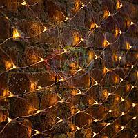 """Универсальная гирлянда """"Сеть"""" - 2х1,5 метра, 288 лампочек, желтый цвет, мерцающая"""
