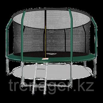 Батут ARLAND Premium 14 ft inside с внутренней страховочной сеткой и лестницей (Dark green)