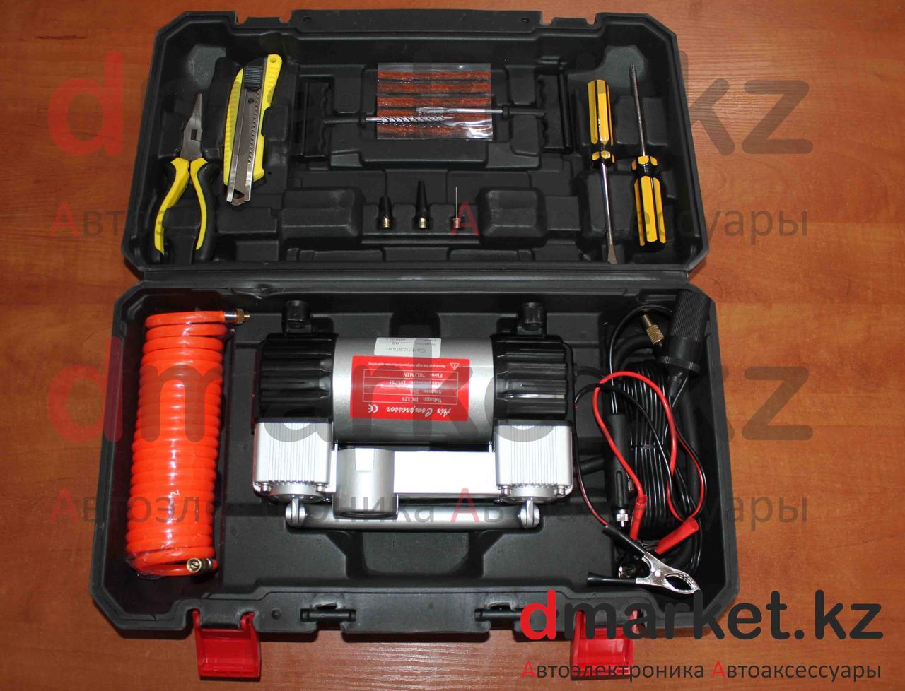 Компрессор автомобильный 202H, 2 поршня, 10 атм., 70л/мин, инструменты, чемодан