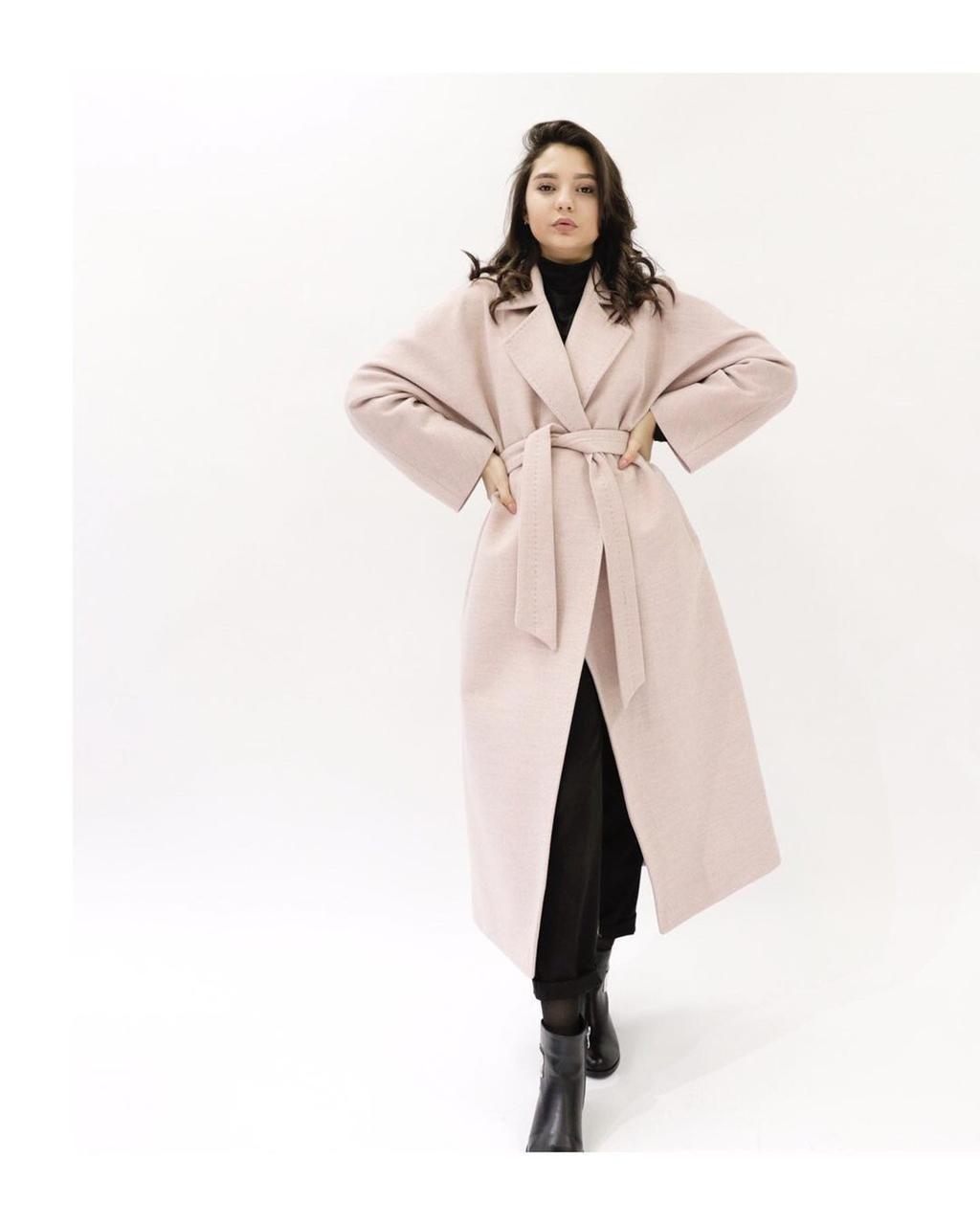 Пальто светло-бежевое оттенке (трюфель)