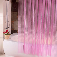 Водонепроницаемая шторка для ванной полупрозрачная 3D Shower curtain 180x180 см розовая
