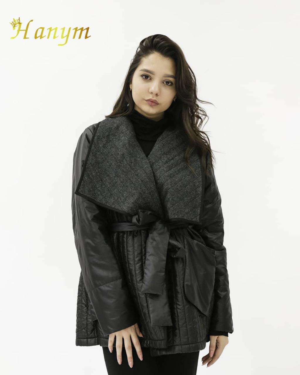 Женский куртка-плащ (короткий, черный)