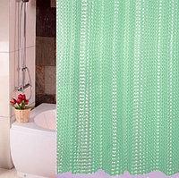 Водонепроницаемая шторка для ванной полупрозрачная 3D Shower curtain 180x180 см зеленая
