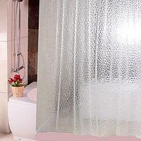 Водонепроницаемая шторка для ванной полупрозрачная 3D Shower curtain 180x180 см белая