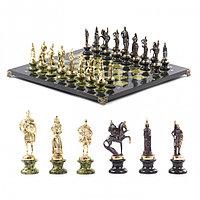 """Подарочные шахматы """"Русские воины"""" фигуры бронзовые на подставках из камня 44х44 см"""