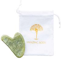 Скребок Гуаша, массажер для лица и тела из зеленого нефрита Amazing body