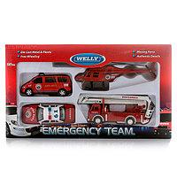 """Игрушка Welly набор машин """"Пожарная служба"""" 4 шт."""