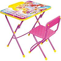 Набор мебели НИКА Winx 3 АЗБУКА (стол складн.с подножк.+пенал,стул тк.флок)