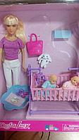 Defa Lucy Кукла Люси (29см) с кроваткой, в наборе две куклы-малыша, множество тематических аксессуаров,
