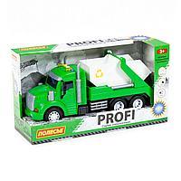 Профи автомобиль-контейнеровоз инерционный со светом и звуком зелёный в коробке