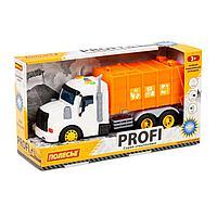 Профи автомобиль коммунальный инерционный со светом и звуком оранжевый в коробке