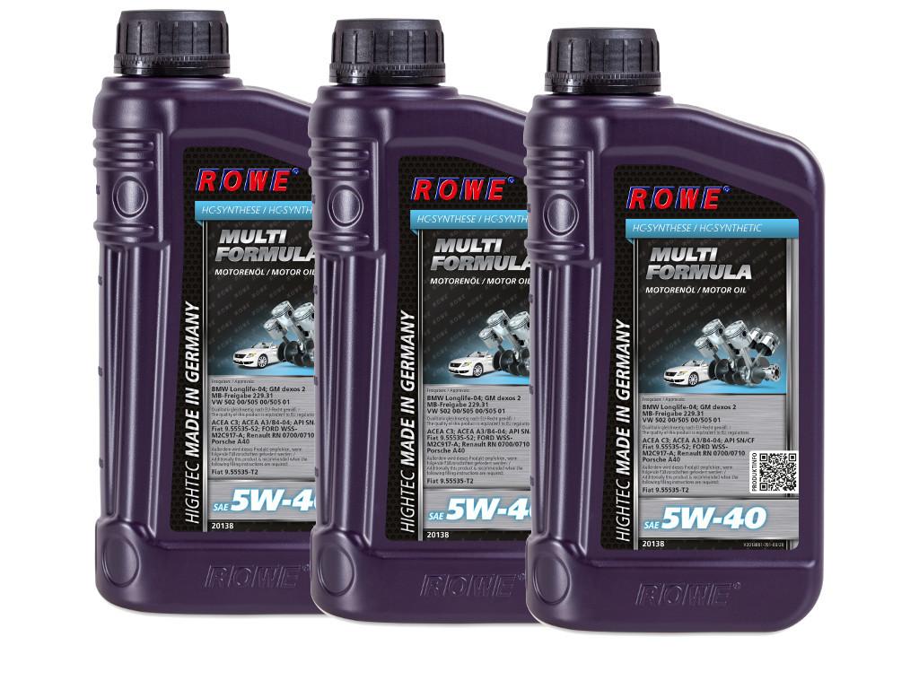 Масло моторное ROWE HIGHTEC MULTI FORMULA SAE 5W-40, 3 литра (3 x 1L)