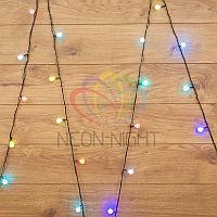 """Световая гирлянда """"Мультишарики"""" - 5 метров, 30 шариков диаметром 18 мм, разноцветная, мерцающая"""