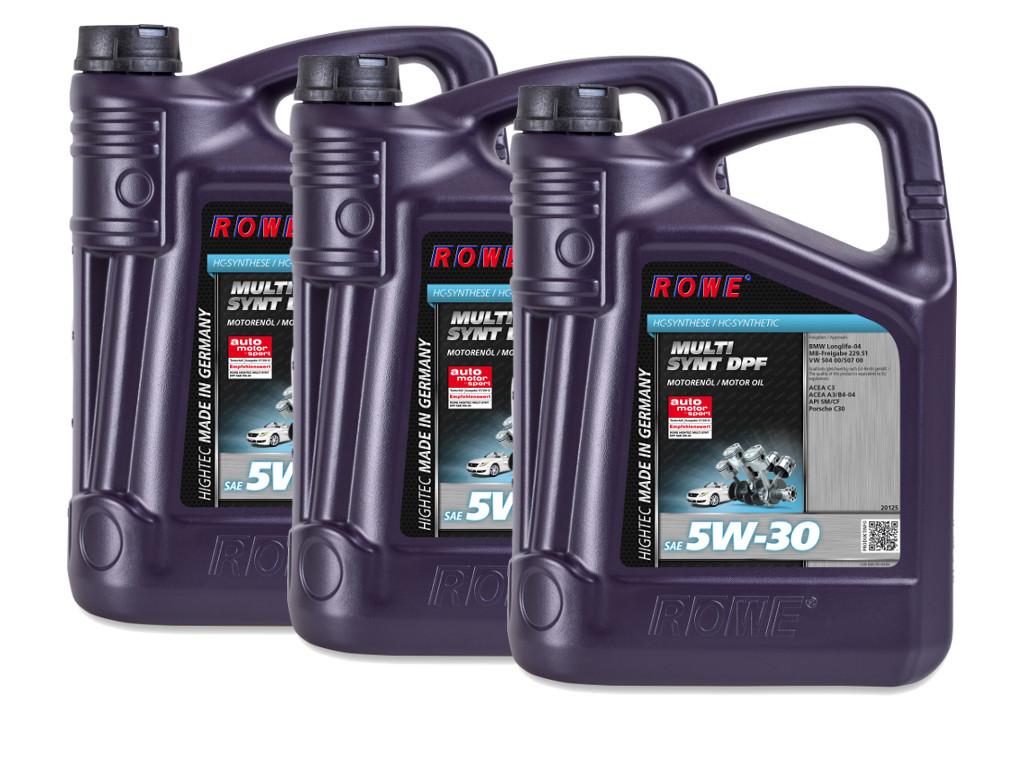 Масло моторное ROWE HIGHTEC MULTI SYNT DPF SAE 5W-30, 15 литров (3 x 5L)