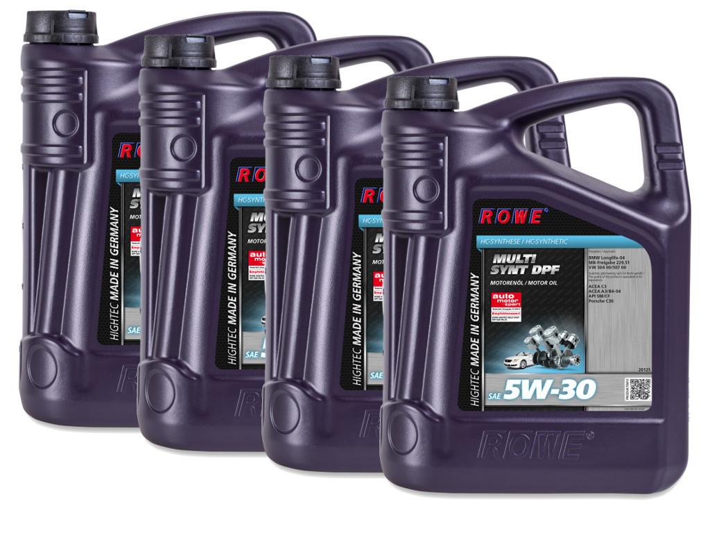 Масло моторное ROWE HIGHTEC MULTI SYNT DPF SAE 5W-30, 20 литров (4 x 5L)