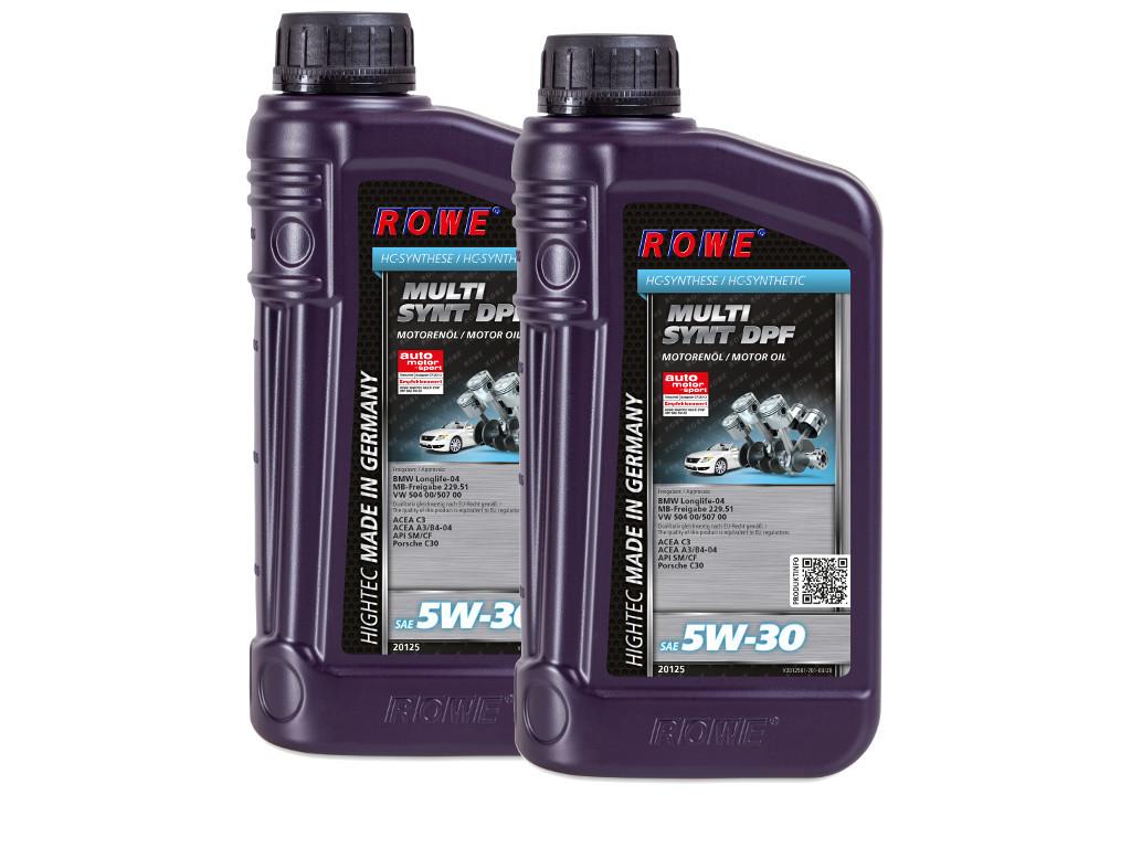 Масло моторное ROWE HIGHTEC MULTI SYNT DPF SAE 5W-30, 2 литра (2 x 1L)
