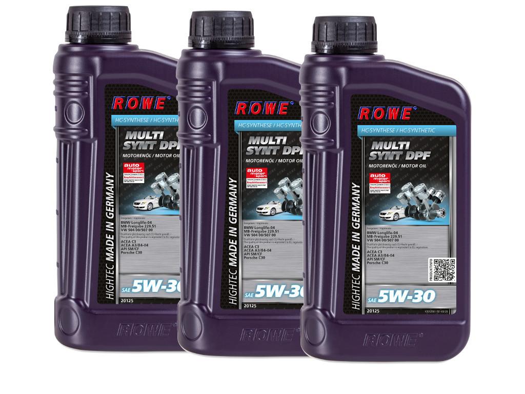 Масло моторное ROWE HIGHTEC MULTI SYNT DPF SAE 5W-30, 3 литра (3 x 1L)