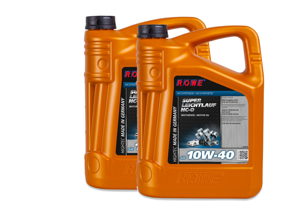 Масло моторное ROWE HIGHTEC SUPER LEICHTLAUF HC-O SAE 10W-40, 10 литров (2 x 5L)