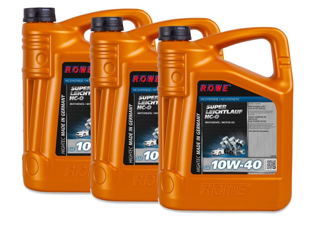 Масло моторное ROWE HIGHTEC SUPER LEICHTLAUF HC-O SAE 10W-40, 15 литров (3 x 5L)