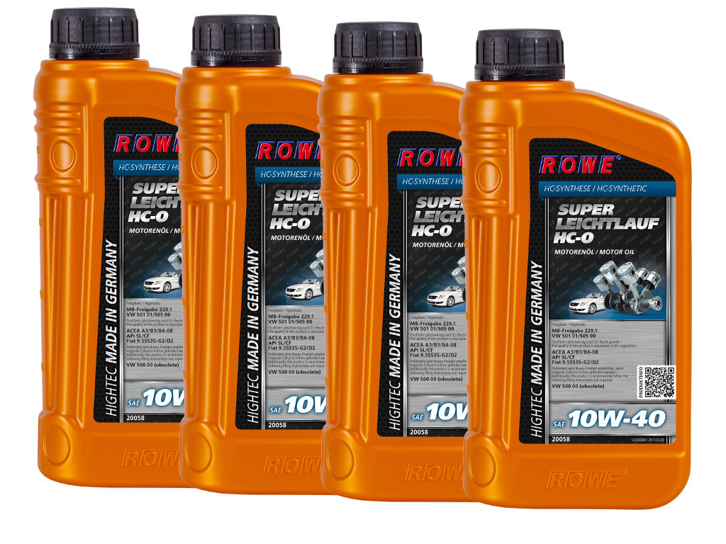 Масло моторное ROWE HIGHTEC SUPER LEICHTLAUF HC-O SAE 10W-40, 4 литра (4 x 1L)