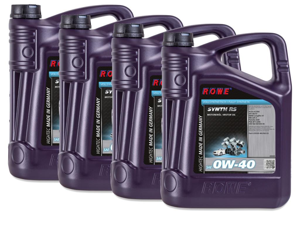 Масло моторное ROWE HIGHTEC SYNTH RS SAE 0W-40, 20 литров (4 x 5L)