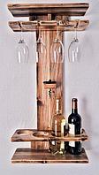 Настенный держатель для винных бутылок и фужеров