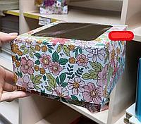 """Коробка для 4 кексов """"Цветы паттерн"""" 1650*165*100мм"""