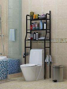 Стеллаж напольный в ванную для хранения вещей над стиральной машиной/унитазом (Черный / под унитаз)