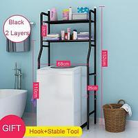 Стеллаж напольный в ванную для хранения вещей над стиральной машиной/унитазом (Черный / под стиральную машину)
