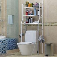 Стеллаж напольный в ванную для хранения вещей над стиральной машиной/унитазом (Белый / под унитаз)