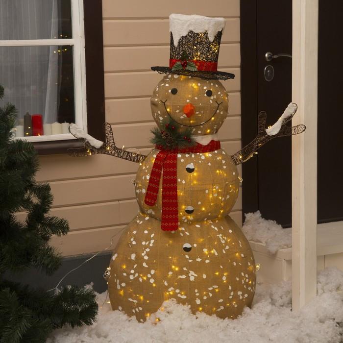 """Фигура текстиль """"Снеговик малый"""" 80x33x110 см, 100 LED, 220V, Т/БЕЛЫЙ"""