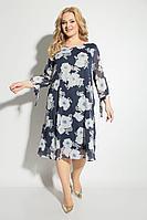 Женское осеннее трикотажное синее нарядное большого размера платье Michel chic 2049 синий+цветы 52р.