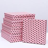 "Набор коробок 5в1 ""Горох на розовом"", 34 х 34 х 9 - 26 х 26 х 5 см"