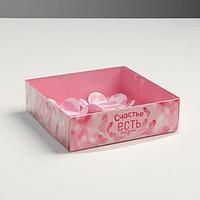 Коробка для макарун с подложками с PVC крышкой «Нежность», 12 х 12 х 3 см