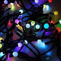 """Гирлянда """"Мультишарики"""" - 10 метров, 100 шариков диаметром 17,5 мм, разноцветная, смена цвета свечения"""
