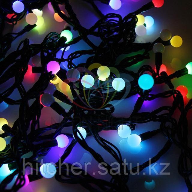 """Универсальная led гирлянда """"Мультишарики"""" - 10 метров, 100 шариков диаметром 17,5 мм, разноцветная,обладает эффектом смены цветов"""