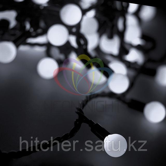 """Универсальная светодиоднаягирлянда """"LED - шарики"""" - 10 метров, 40 шариков диаметром 38 мм, белый цвет свечения,статичный режим свечения (светит постоянно)"""