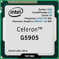 Intel Celeron G5905 3,5 GHz 2Mb 2/2 Comet Lake Lake Intel® UHD Graphics 610 58W  BOX, фото 1
