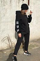 Женский осенний вязаный черный спортивный большого размера спортивный костюм Runella 1444 черный 50р.