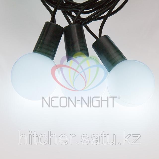 """Световая гирлянда """"Мультишарики"""" - 5 метров, 25шариков диаметром 25мм, белый цвет, статичная (постоянное свечение)."""