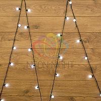 """Световая гирлянда """"Мультишарики"""" - 5 метров, 25 шариков диаметром 25 мм, белый цвет, постоянное свечение"""