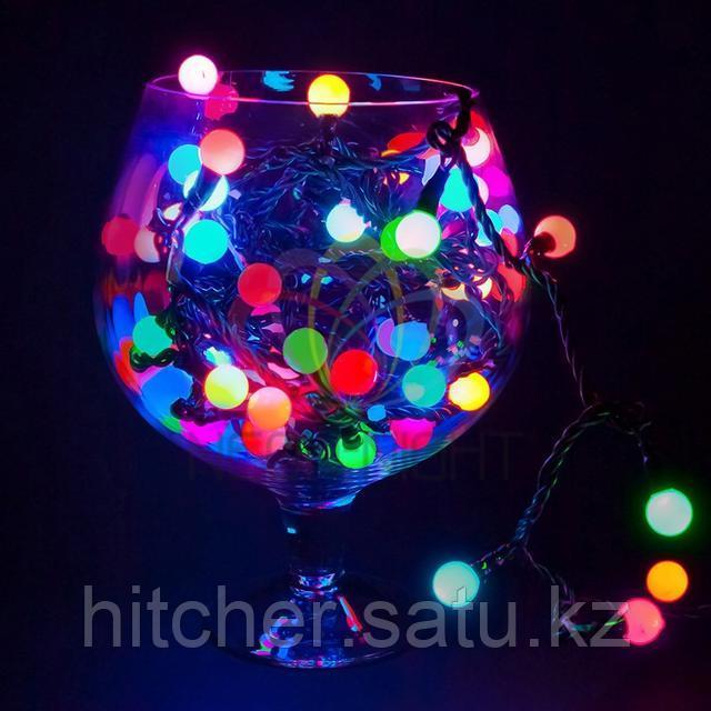 """Универсальная led гирлянда """"Мультишарики"""" - 10 метров, 80 шариков диаметром 17,5 мм, разноцветная,динамичный режим свечения (мерцает)."""