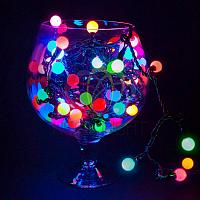 """Гирлянда """"Мультишарики"""" - 10 метров, 80 шариков диаметром 17,5 мм, разноцветная, мерцающая"""