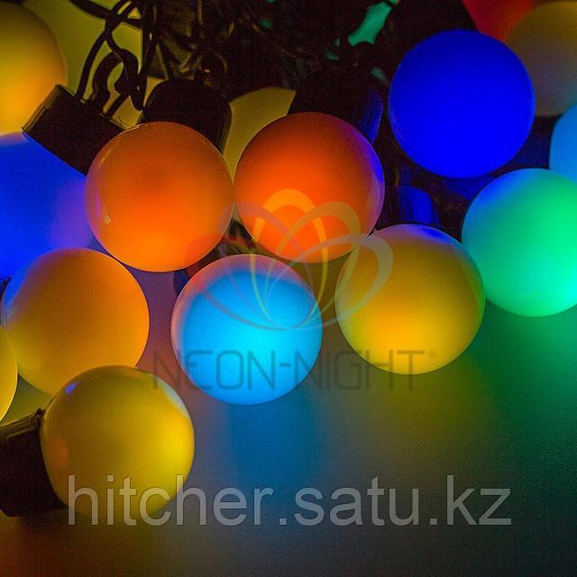 """Универсальная led гирлянда """"Мультишарики"""" - 10 метров, 40 шариков диаметром 38 мм, разноцветная,обладает эффектом смены цветов."""