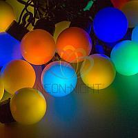 """Гирлянда """"Мультишарики"""" - 10 метров, 40 шариков диаметром 38 мм, разноцветная, смена цвета свечения"""