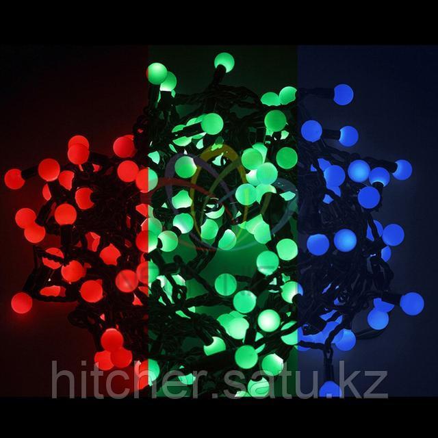 """Универсальная led гирлянда """"Мультишарики"""" - 10 метров, 80 шариков диаметром 23мм, разноцветная,обладает эффектом смены цветов."""