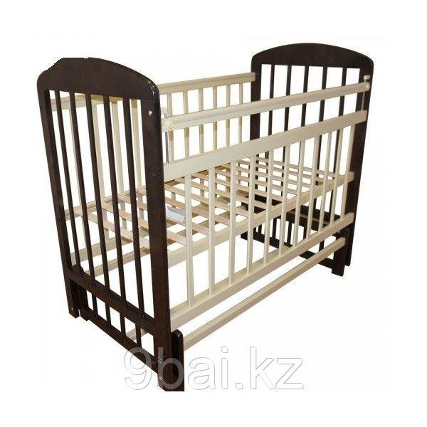 МОЙ МАЛЫШ Кровать детская 09 маятник поперечного качания с накладкой венге