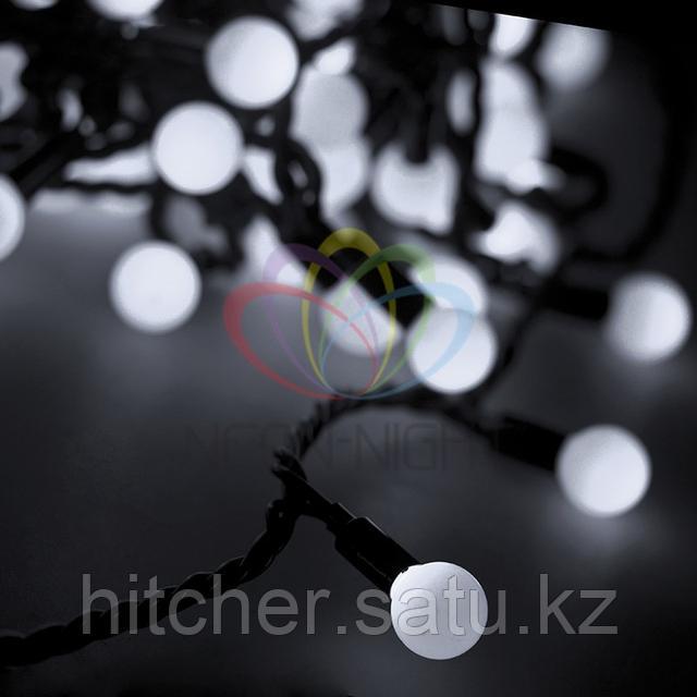 """Универсальная светодиоднаягирлянда """"LED - шарики"""" - 10 метров, 80 шариков диаметром 23 мм, белый цвет свечения,статичный режим свечения (светит постоянно)."""