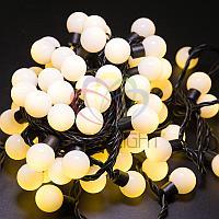"""Гирлянда """"LED - шарики"""" - 10 метров, 80 шариков диаметром 23 мм, теплый-белый свет, постоянное свечение"""