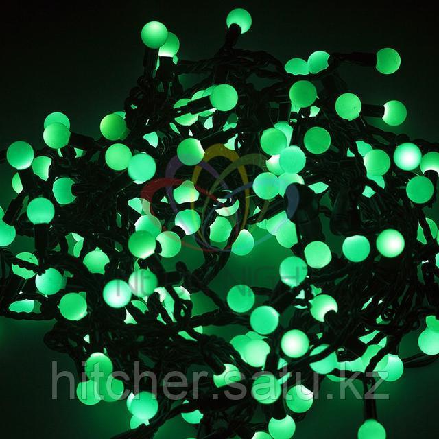 """Универсальная светодиоднаягирлянда """"LED - шарики"""" - 20 метров, 200 шариков диаметром 17,5 мм, зеленый цвет свечения,статичный режим свечения (светит постоянно)."""